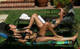 Audrina Patridge and Lauren Conrad in Bikinis by Poolside